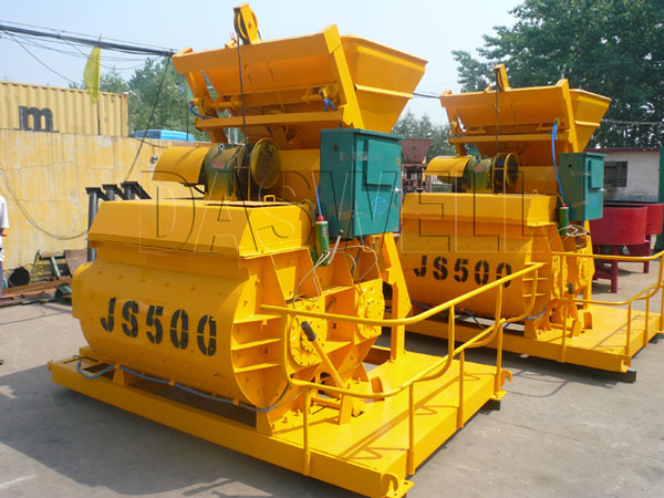 JS500 double horizontal forced concrete mixer