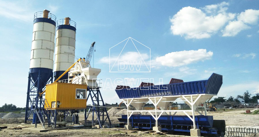 HZS75 concrete batch mix plant manufacturer