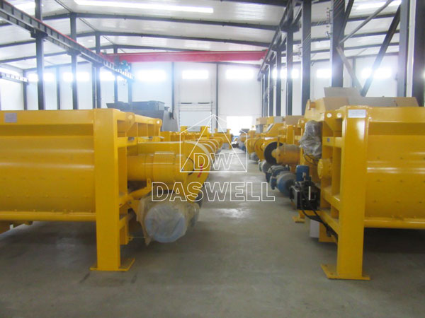 the twin shaft batch mixer in factory