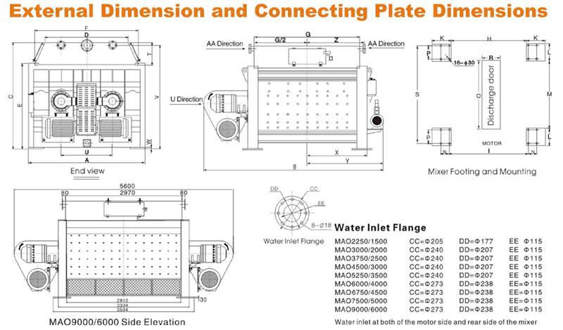 MAO series concrete mixer dimension